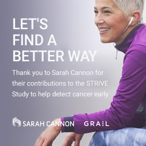 Let's find a better way. Thank you to Sarah Cannon for their contributions to the STRIVE Study to help detect cancer early.